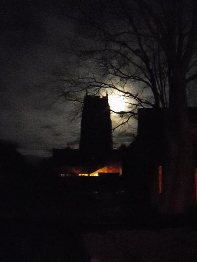 St. Mary's Tower, Holme-next-the-Sea - night view with the moon behind - Photo &copy Tony Foster