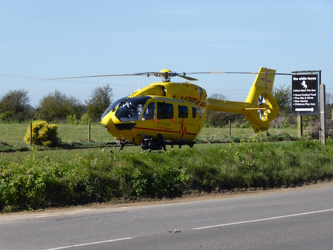 East Anglian Air Ambulance lands in Holme-next-the-Sea - April 28th, 2016. Photo - Tony Foster
